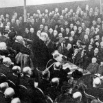 Winston Churchill speaking at the Lesser Free Trade Hall, 1913.